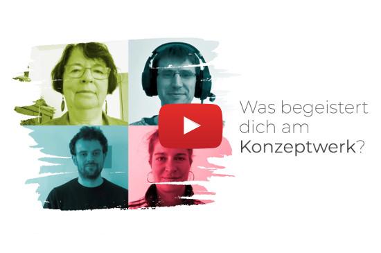 Bild mit vier Gesichtern von Personen und die Frage: Was begeistert Dich am Konzeptwerk